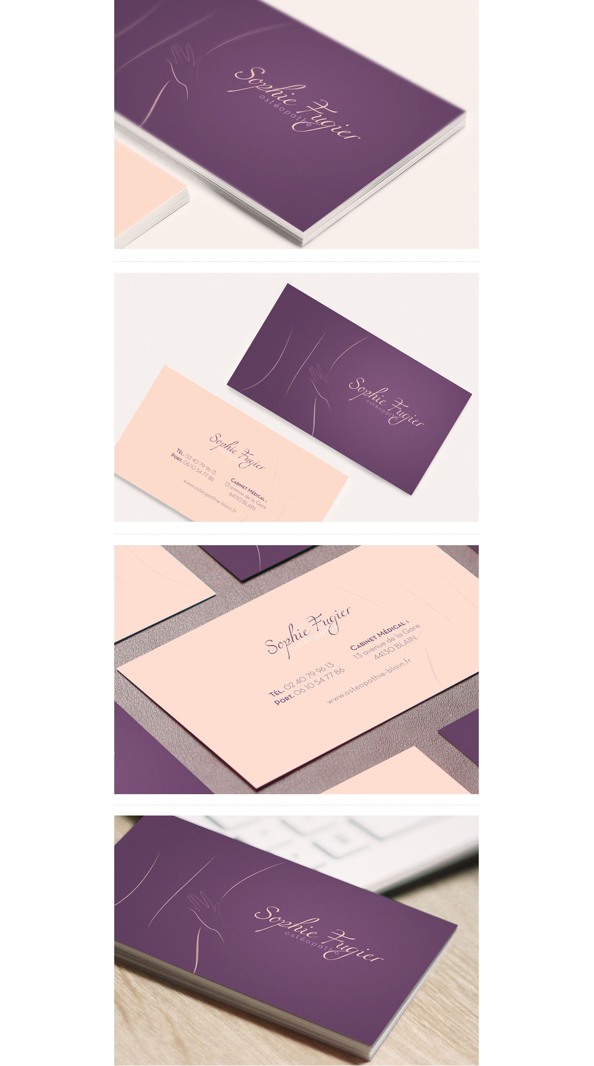 Details business card of Sophie Fugier, Do osteopath