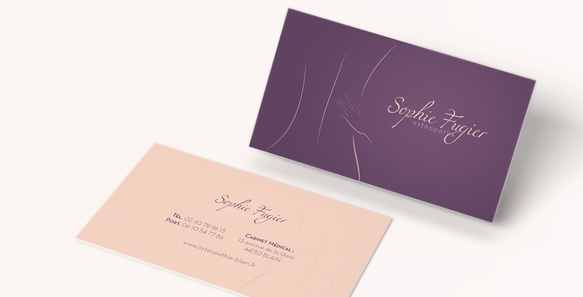 Business cards of Sophie Fugier, DO osteopath